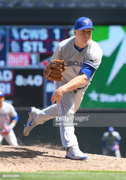 Toronto Blue Jays Pitcher Aaron Loup delivers a pitch during a MLB game between the Minnesota Twins and Toronto Blue Jays on May 2 2018 at Target...