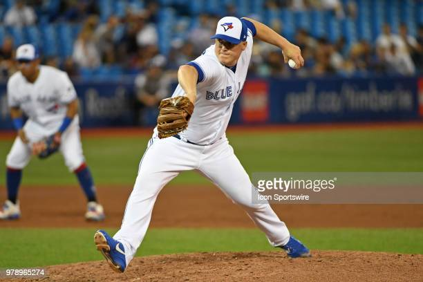 Toronto Blue Jays Pitcher Aaron Loup pitches during the regular season MLB game between the Atlanta Braves and Toronto Blue Jays on June 19 2018 at...