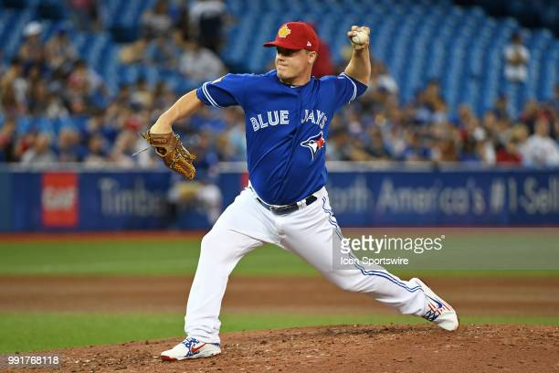 Toronto Blue Jays Pitcher Aaron Loup pitches during the regular season MLB game between the New York Mets and Toronto Blue Jays on July 4 2018 at...