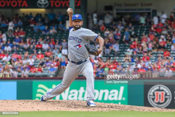 Toronto Blue Jays pitcher Cesar Valdez delivers a pitch during the game between the Toronto Blue Jays and Texas Rangers on June 22 at Globe Life Park...
