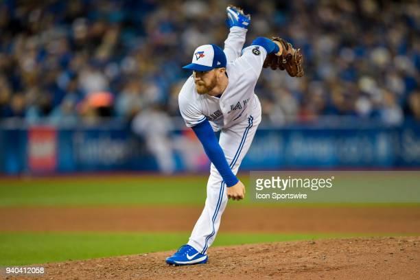 Toronto Blue Jays Pitcher Danny Barnes pitches during the MLB seasonopener game between the New York Yankees and the Toronto Blue Jays at Rogers...