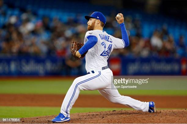Toronto Blue Jays Pitcher Danny Barnes pitches during the MLB game between the New York Yankees and the Toronto Blue Jays at Rogers Centre in Toronto...