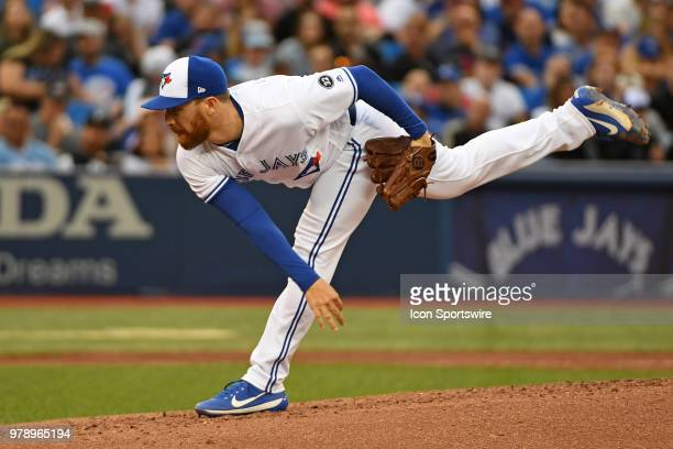 Toronto Blue Jays Pitcher Danny Barnes pitches during the regular season MLB game between the Atlanta Braves and Toronto Blue Jays on June 19 2018 at...