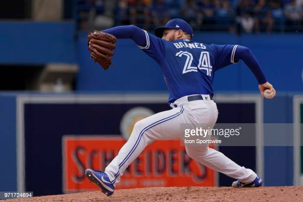 Toronto Blue Jays Pitcher Danny Barnes pitches relief during the MLB game between the Baltimore Orioles and the Toronto Blue Jays at Rogers Centre in...