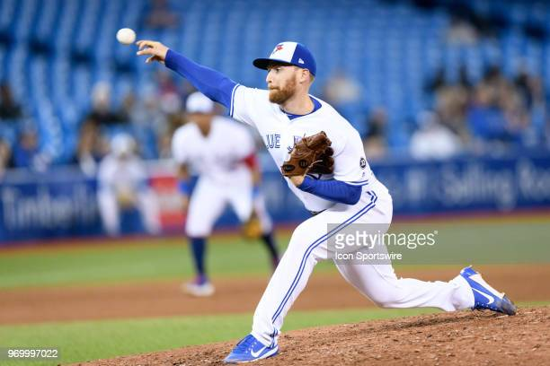 Toronto Blue Jays Pitcher Danny Barnes throws a pitch during the MLB regular season game between the Toronto Blue Jays and the New York Yankees on...