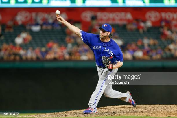 Toronto Blue Jays Pitcher Jason Grilli comes on in relief during the MLB game between the Toronto Blue Jays and Texas Rangers on June 19 2017 at...