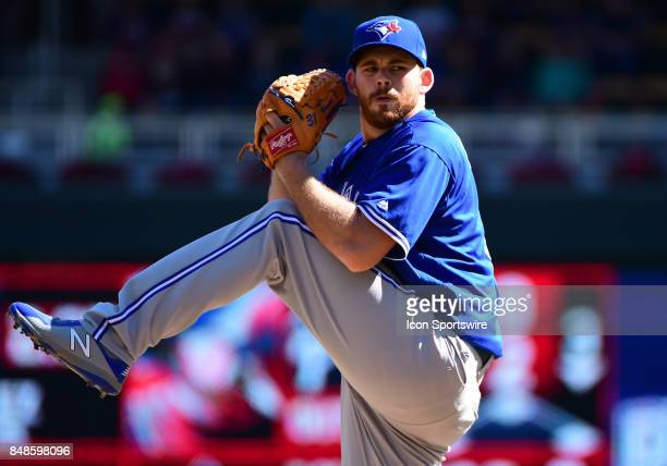 Toronto Blue Jays Pitcher Joe Biagini delivers a pitch during a MLB game between the Minnesota Twins and Toronto Blue Jays on September 17 2017 at...