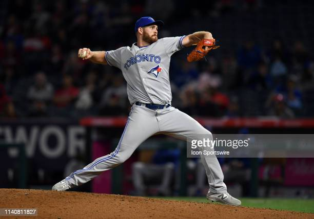 Toronto Blue Jays pitcher Joe Biagini in action during the eighth inning of a game against the Los Angeles Angels played on May 1 2019 at Angel...