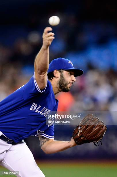 Toronto Blue Jays Pitcher Mike Bolsinger throws a pitch during the first inning of the MLB regular season game between the Toronto Blue Jays and the...