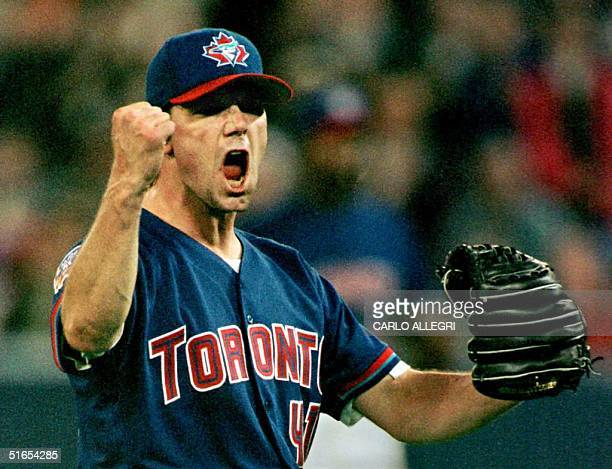 Toronto Blue Jays pitcher Pat Hentgen celebrates his threehit shutout victory over the Minnesota Twins at Toronto's Skydome 04 May The Jays beat the...