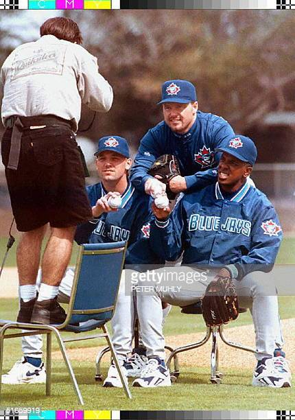 Toronto Blue Jays pitchers Pat Hentgen Roger Clemens and Juan Guzman pose for photographer Tom Dipace for the cover of the sport magazine Baseball...