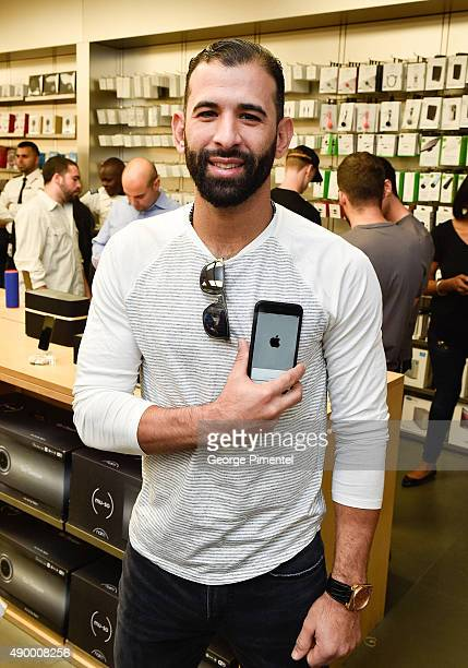 Toronto Blue Jays player Jose Bautista stops by Apple Store Eaton Centre in Toronto for new iPhone 6s and iPhone 6s Plus at Apple Store Eaton Centre...
