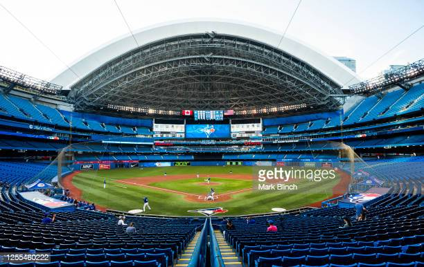 Toronto Blue Jays players take part in an intrasquad game at Rogers Centre on July 9, 2020 in Toronto, Canada.