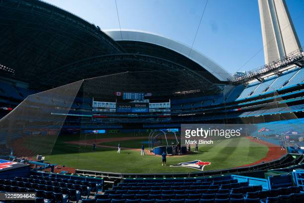 Toronto Blue Jays players take part in summer training at Rogers Centre on July 9, 2020 in Toronto, Canada.