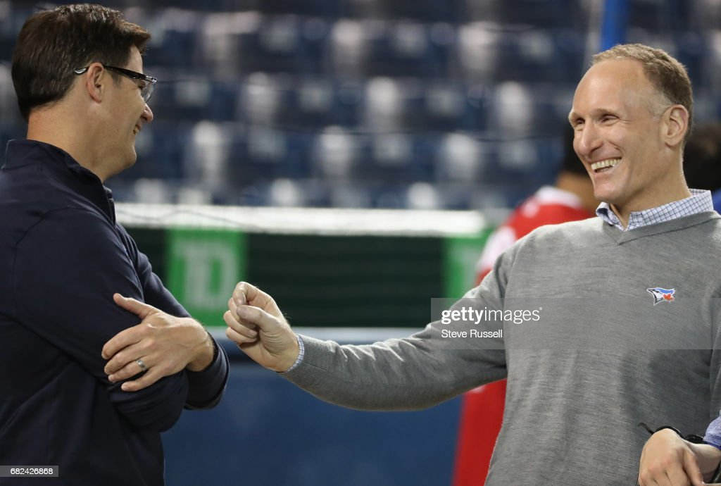 TORONTO, - MAY 12 - Toronto Blue Jays president Mark Shapiro with general manager russ Atkins before the game as the Toronto Blue Jays play the Seattle Mariners at Rogers Centre in Toronto. May 12, 2017.