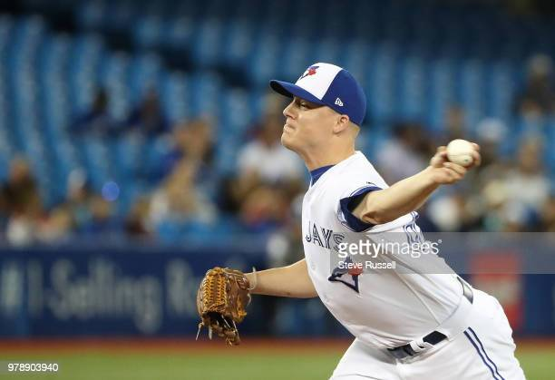 TORONTO ON JUNE 19 Toronto Blue Jays relief pitcher Aaron Loup as the Toronto Blue Jays lose to the Atlanta Braves 114 at Rogers Centre in Toronto...