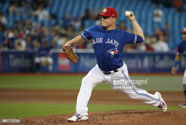 TORONTO ON JULY 4 Toronto Blue Jays relief pitcher Aaron Loup as the Toronto Blue Jays fall to the New York Mets 63 at the Rogers Centre in Toronto...