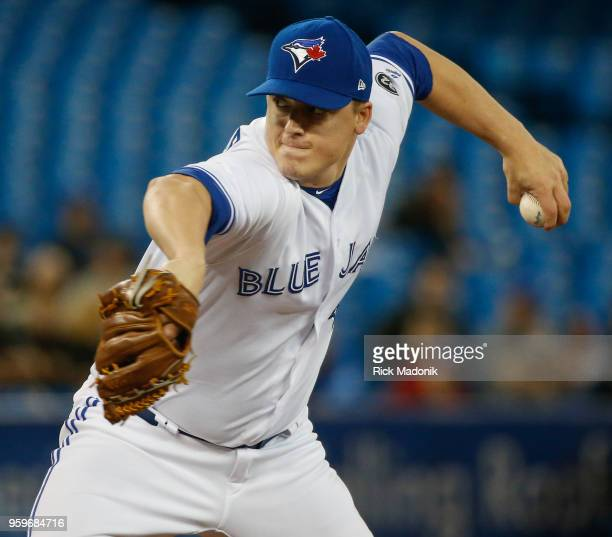 Toronto Blue Jays relief pitcher Aaron Loup gets some work in Toronto Blue Jays Vs Oakland Athletics in MLB regular season play at Rogers Centre in...