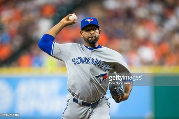 Toronto Blue Jays relief pitcher Cesar Valdez delivers the pitch in the second inning of a MLB game between the Houston Astros and the Toronto Blue...