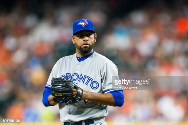 Toronto Blue Jays relief pitcher Cesar Valdez looks on in the third inning of a MLB game between the Houston Astros and the Toronto Blue Jays at...