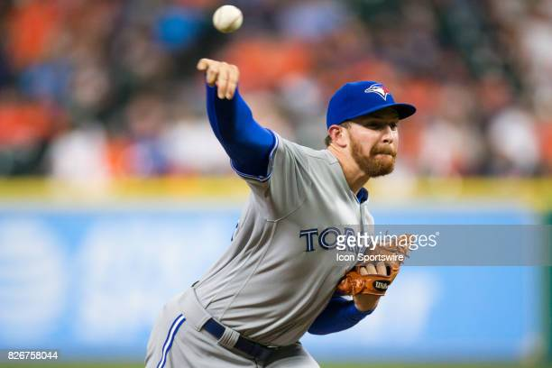 Toronto Blue Jays relief pitcher Danny Barnes delivers the pitch in the seventh inning of a MLB game between the Houston Astros and the Toronto Blue...