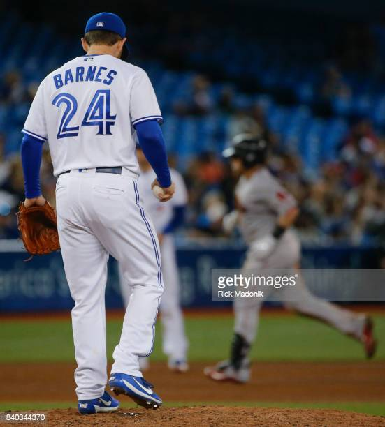 Toronto Blue Jays relief pitcher Danny Barnes on the mound after giving up a 2 run home run Toronto Blue Jays Vs Boston Red Sox in MLB regular season...