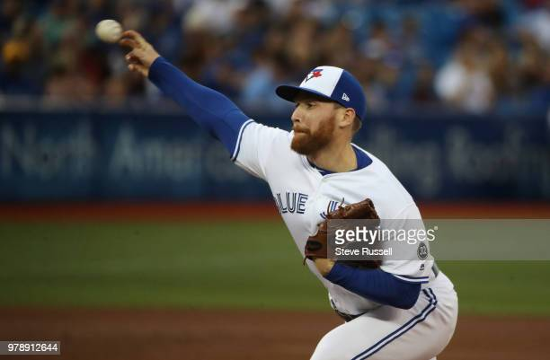 TORONTO ON JUNE 19 Toronto Blue Jays relief pitcher Danny Barnes throws as the Toronto Blue Jays lose to the Atlanta Braves 114 at Rogers Centre in...