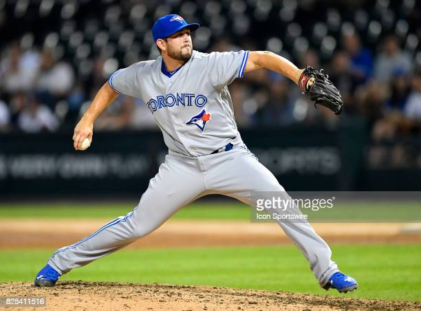 Toronto Blue Jays relief pitcher Dominic Leone pitches the ball during the game between the Toronto Blue Jays and the Chicago White Sox on August 1...