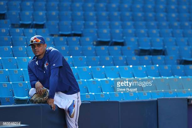 Toronto Blue Jays relief pitcher Roberto Osuna during batting practice as the Toronto Blue Jays play the San Diego Padres at the Rogers Centre in...