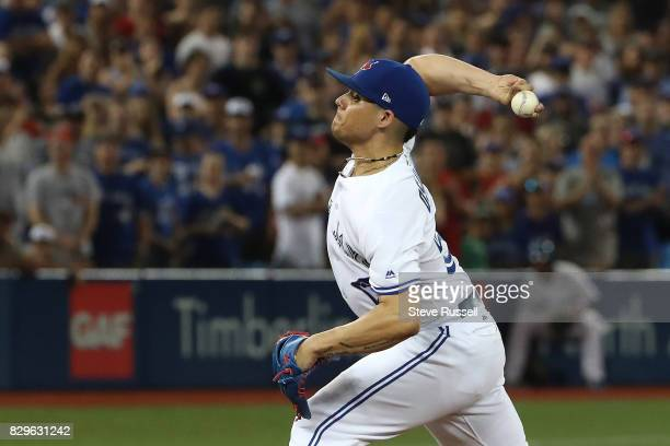 TORONTO ON AUGUST 10 Toronto Blue Jays relief pitcher Roberto Osuna pitches in the ninth inning as the Toronto Blue Jays shutout the New York Yankees...