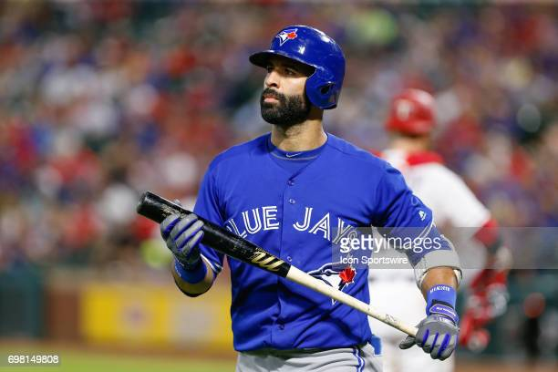 Toronto Blue Jays Right field Jose Bautista reacts after striking out during the MLB game between the Toronto Blue Jays and Texas Rangers on June 19...