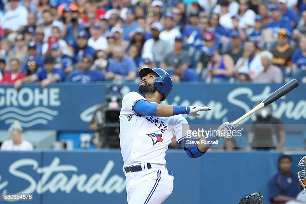 TORONTO ON JULY 25 Toronto Blue Jays right fielder Jose Bautista pops up on his first at bat as the Toronto Blue Jays play the San Diego Padres at...