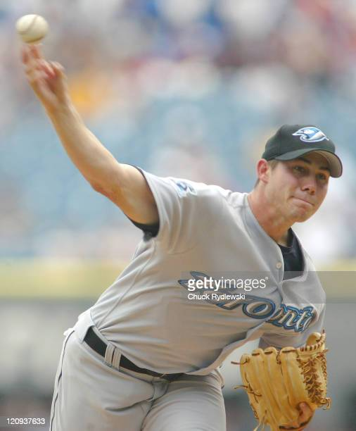 Toronto Blue Jays rookie Pitcher Dustin McGowan pitches during the game against the Chicago White Sox August 4 2005 at US Cellular Field in Chicago...