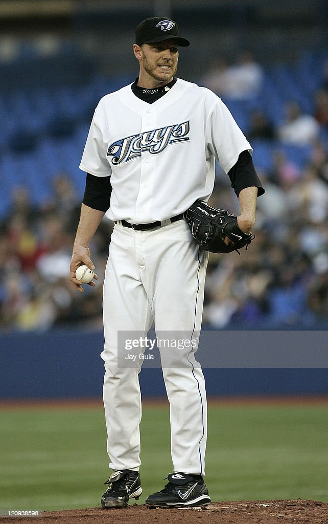 Toronto Blue Jays Roy Halladay grimaces after giving up 6 runs in the 3rd inning vs the Boston Red Sox at the Rogers Centre in Toronto, Canada on May 10, 2007.