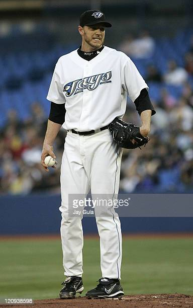 Toronto Blue Jays Roy Halladay grimaces after giving up 6 runs in the 3rd inning vs the Boston Red Sox at the Rogers Centre in Toronto Canada on May...