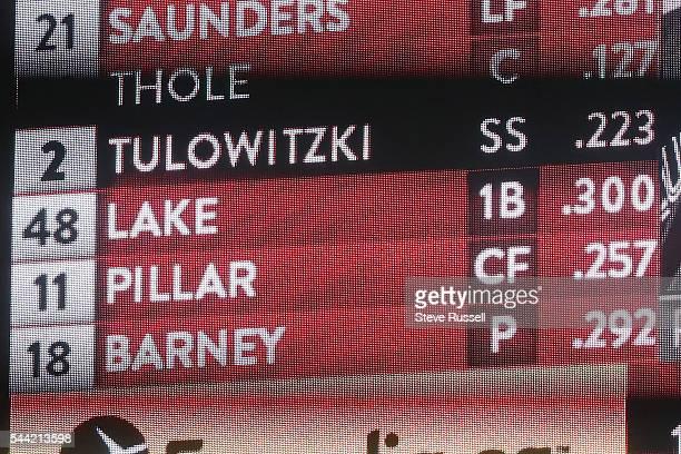 TORONTO ON JULY 1 Toronto Blue Jays second baseman Darwin Barney is listed as pitcher as he throws the 19th inning as the Toronto Blue Jays lose the...