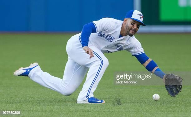 Toronto Blue Jays second baseman Devon Travis makes a nice defensive play Toronto Blue Jays Vs Washington Nationals in MLB interleague season play at...