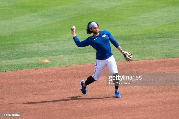 Toronto Blue Jays Shortstop Bo Bichette takes infield practice prior to the Major League Baseball game between the Miami Marlins and the Toronto Blue...