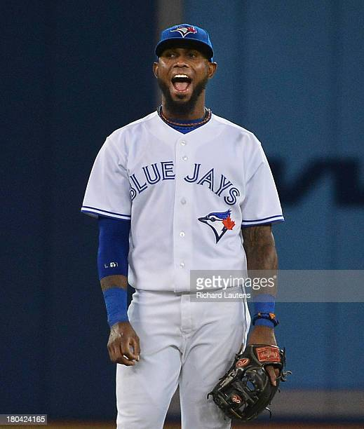 TORONTO ON SEPTEMBER 12 Toronto Blue Jays shortstop Jose Reyes makes some faces on field in the 5thThe Toronto Blue Jays took on the Los Angeles...