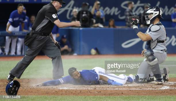 TORONTO ON MARCH 31 Toronto Blue Jays shortstop Richard Urena would be tagged out on the plate by Detroit Tigers catcher Grayson Greiner in the tenth...