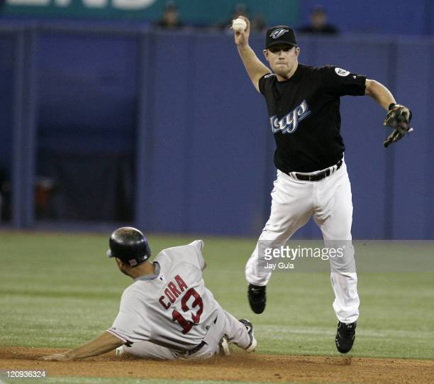 Toronto Blue Jays SS Aaron Hill avoids the slide of Boston's Alex Cora and throws to 1st to complete a double play vs the Boston Red Sox in action at...