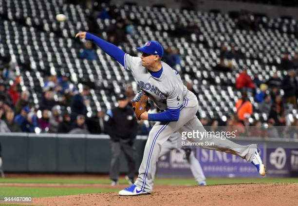 Toronto Blue Jays starter Aaron Sanchez pitches against the Baltimore Orioles in the third inning on Tuesday April 10 2018 at Oriole Park at Camden...