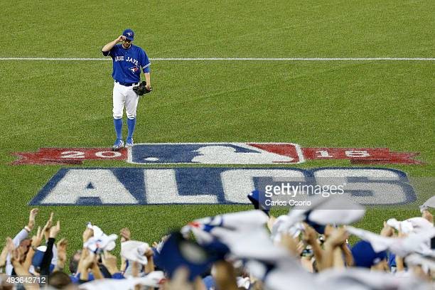 Toronto Blue Jays starter Marco Estrada comes out of the game after pitching 72 innings and giving up 3 hits and 1 earned run of game 5 of the...
