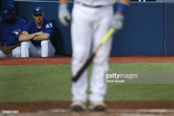 TORONTO ON AUGUST 10 Toronto Blue Jays starting pitcher Aaron Sanchez plagued by blister problems watches from the dugout as the Toronto Blue Jays...