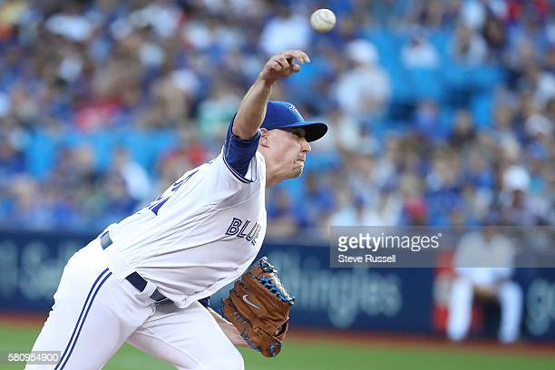 TORONTO ON JULY 25 Toronto Blue Jays starting pitcher Aaron Sanchez starts the game as the Toronto Blue Jays play the San Diego Padres at the Rogers...