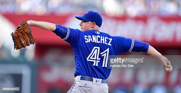 Toronto Blue Jays starting pitcher Aaron Sanchez throws against the Kansas City Royals on Saturday Aug 6 at Kauffman Stadium in Kansas City Mo