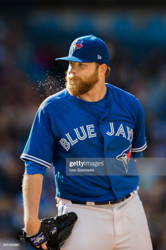 Toronto Blue Jays Starting pitcher Brett Anderson (46) on the mound before making a pitch during the regular season MLB game between the Detroit Tigers and the Toronto Blue Jays on September 9, 2017 at Rogers Centre in Toronto, ON..