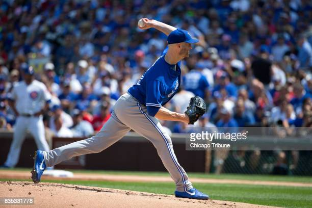 Toronto Blue Jays starting pitcher JA Happ works during the first inning against the Chicago Cubs on Friday Aug 18 at Wrigley Field in Chicago The...
