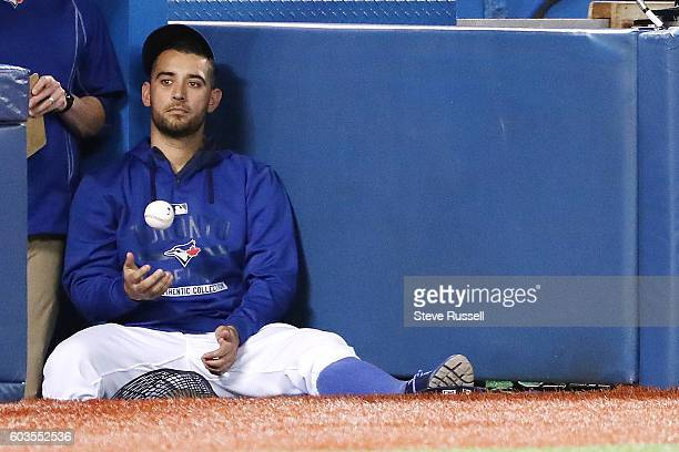 TORONTO ON SEPTEMBER 12 Toronto Blue Jays starting pitcher Marco Estrada watches as the Toronto Blue Jays beat the Tampa Bay Rays 32 in Toronto...