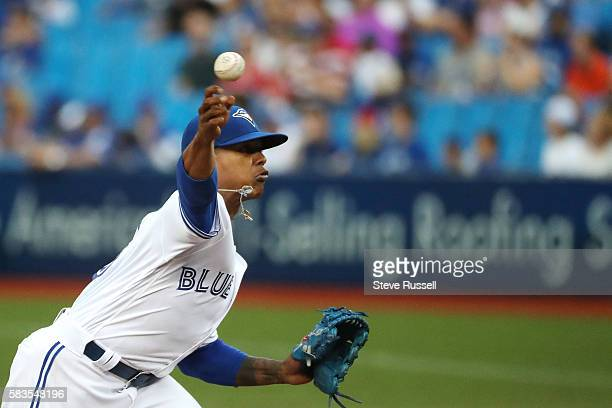 Toronto Blue Jays starting pitcher Marcus Stroman as the Toronto Blue Jays play the San Diego Padres at the Rogers Centre in Toronto. July 26, 2016.